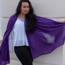 Load image into Gallery viewer, silver feather on merino wool shawl purple