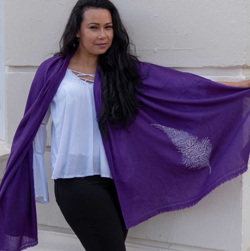 silver feather on merino wool shawl purple
