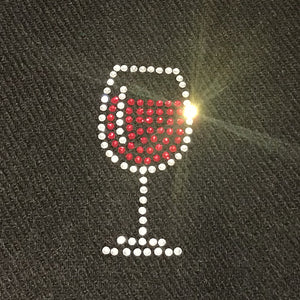 glass of red wine embellishment on merino wool scarf