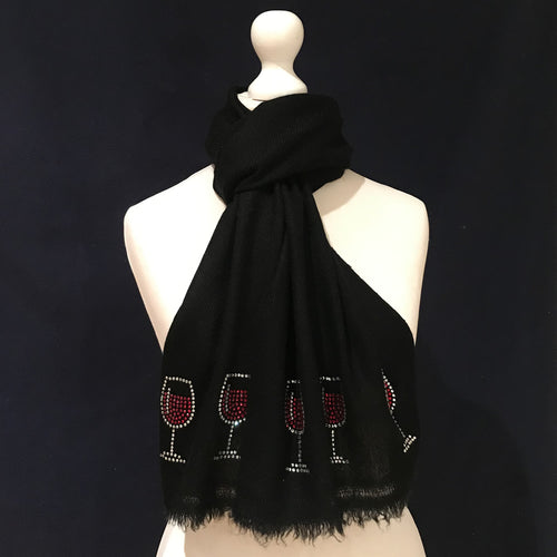 black merino wool scarf glass of red wine
