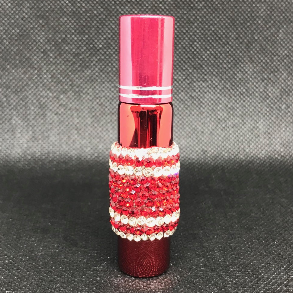 glass roll-on perfume bottle in rhinestones