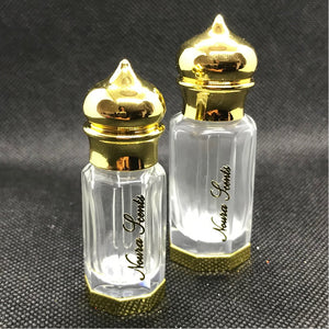 Octagonal shaped clear glass perfume bottle