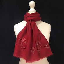 Load image into Gallery viewer, silver hearts merino wool scarf