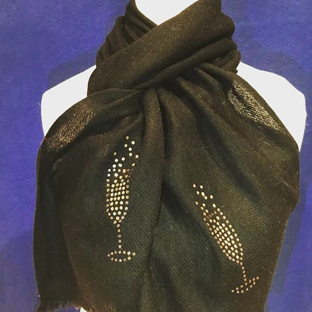 black merino wool scarf glass of prosecco