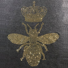 Load image into Gallery viewer, queen bee in full gold sparkling crystals on black merino wool shawl