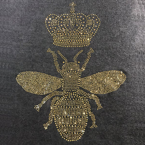 queen bee in full gold sparkling crystals on black merino wool shawl