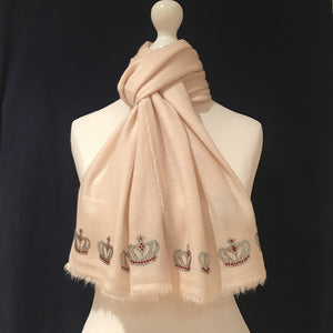 merino wool scarf mini crowns cream