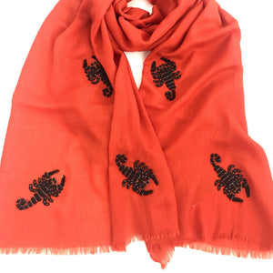 scorpions hand beaded merino wool shawl