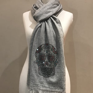 crystal skull on merino wool shawl