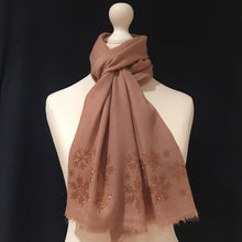 Load image into Gallery viewer, topaz snowflakes on merino wool scarf camel