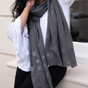 silver stars on merino wool shawl grey