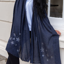 Load image into Gallery viewer, silver stars on merino wool shawl blue