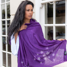 Load image into Gallery viewer, silver stars on merino wool shawl purple