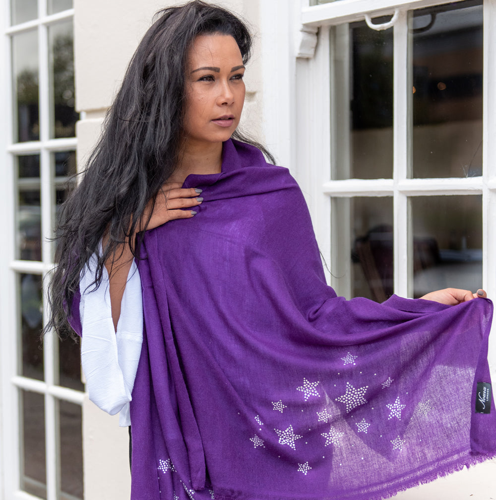 silver stars on merino wool shawl purple