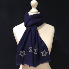 Load image into Gallery viewer, silver stars on merino wool scarf