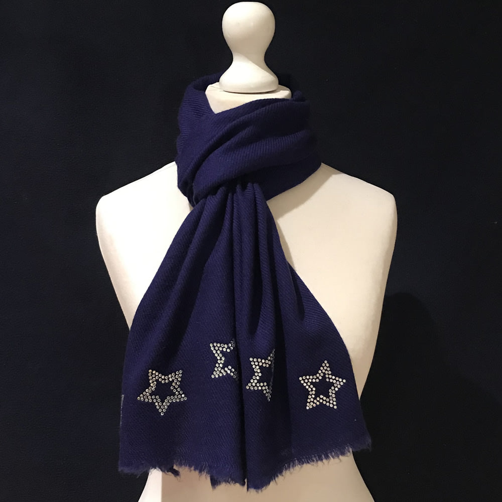 silver stars on merino wool scarf