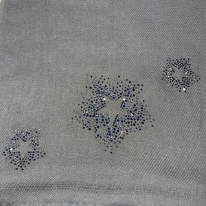 scattered crystal stars merino wool scarf