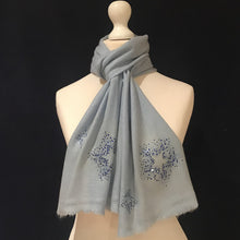 Load image into Gallery viewer, scattered crystal stars merino wool scarf