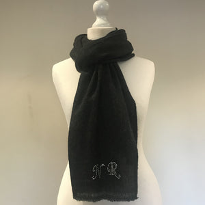 swarovski crystal initialled shawl