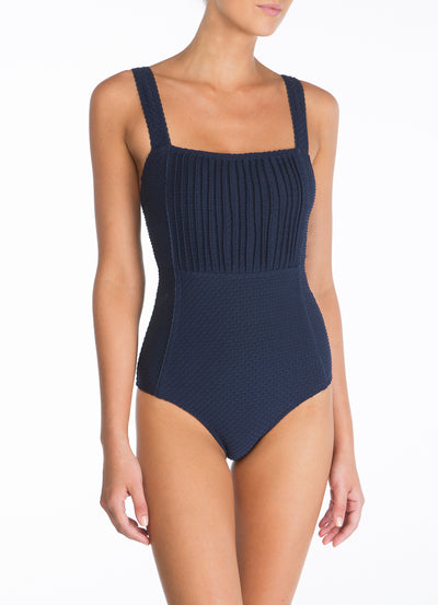 Peony Swimwear Pintucked Bandeau One Piece - Blackberry