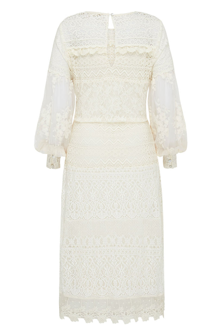 Spell Designs Dawn Lace Belted Midi Dress - Cream