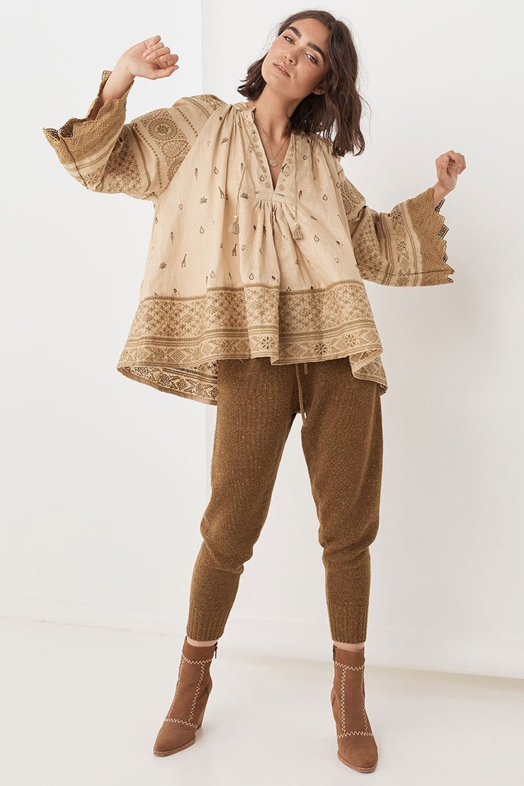 Spell Designs Muwala Embroided Blouse - Almond