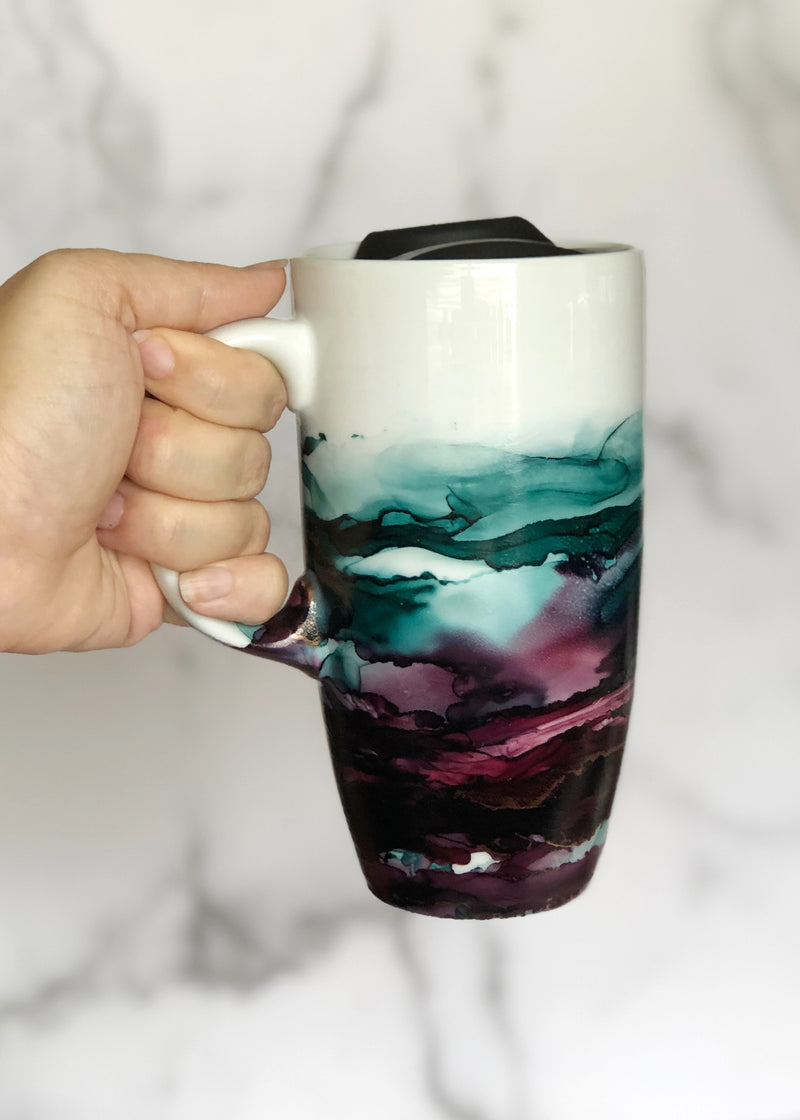 Teal and Wine Hand-Painted Travel Mug with Handle