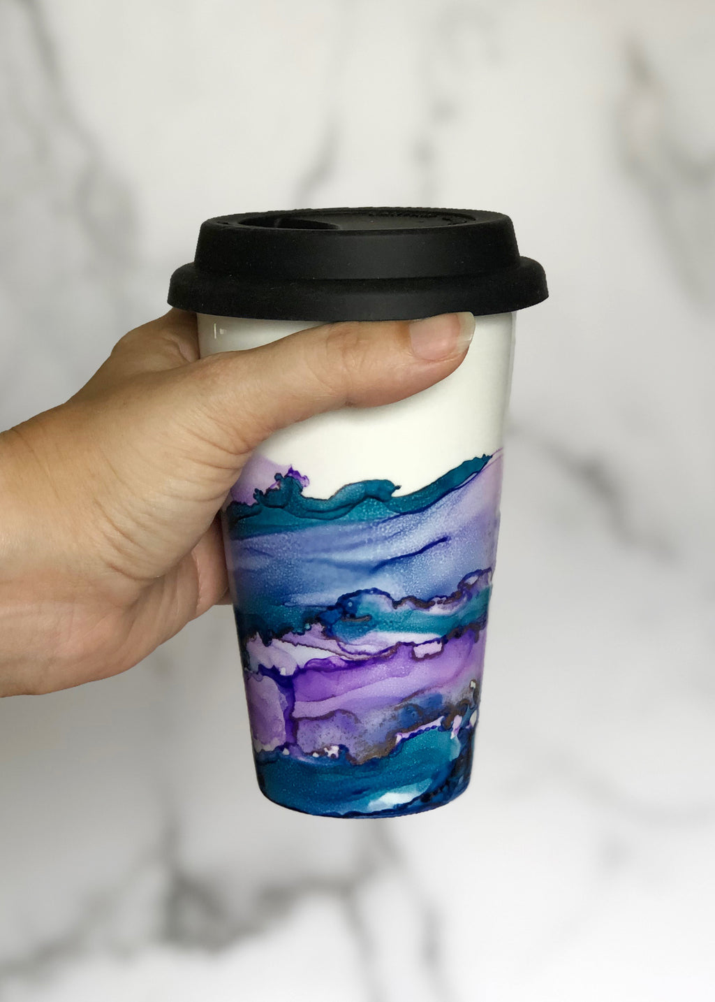 Purple and Teal Hand-Painted Travel Mug