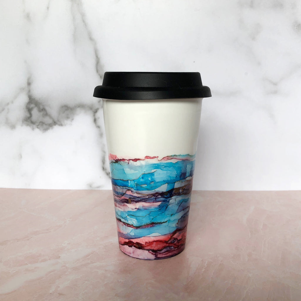 Pink and Blue Hand-Painted Travel Mug