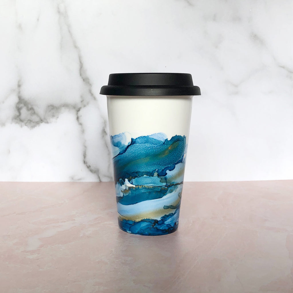 Blue Hand-Painted Travel Mug