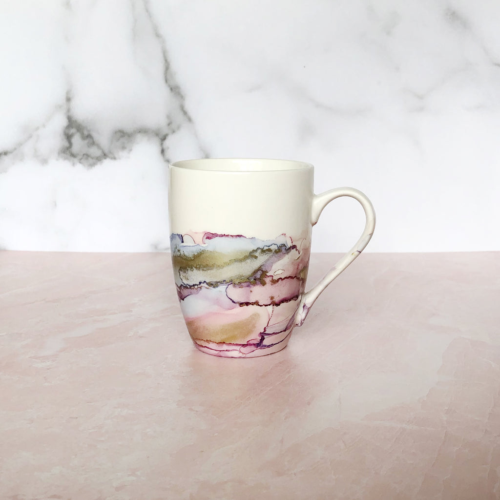 Blush and Periwinkle Hand-Painted Mug