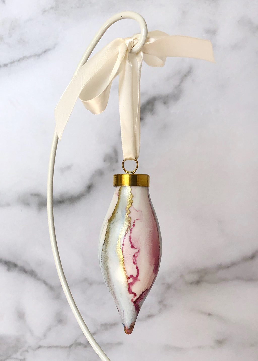 Pink Handpainted Ornament - Narrow Teardrop