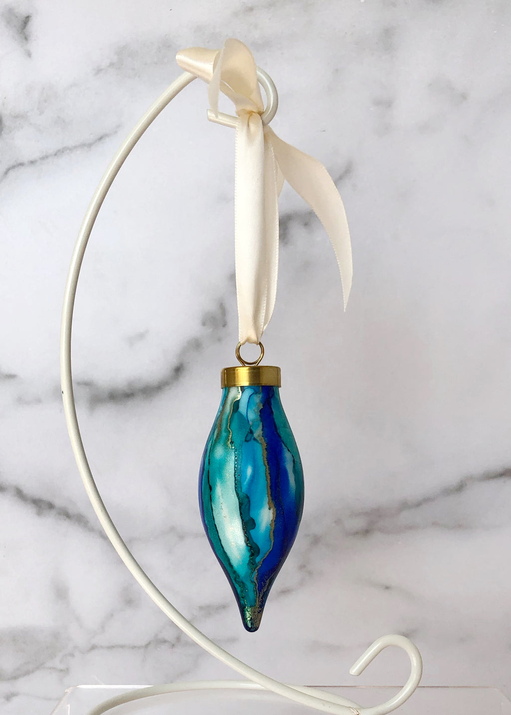 Blue Handpainted Ornament - Narrow Teardrop