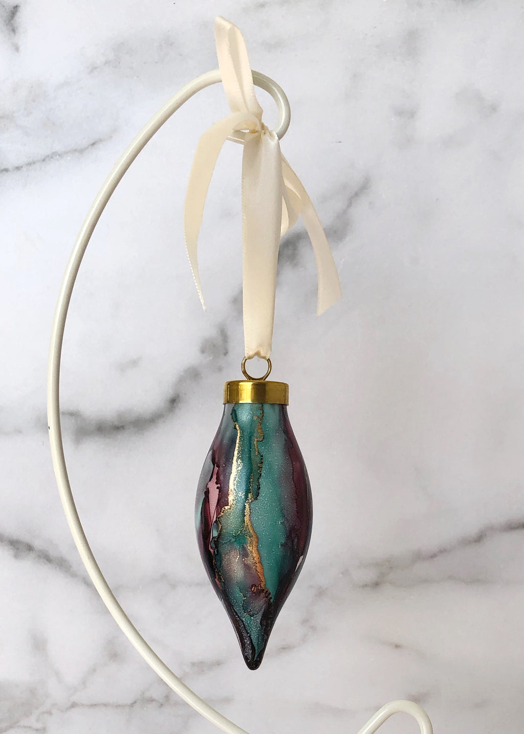 Teal and Wine Handpainted Ornament - Narrow Teardrop