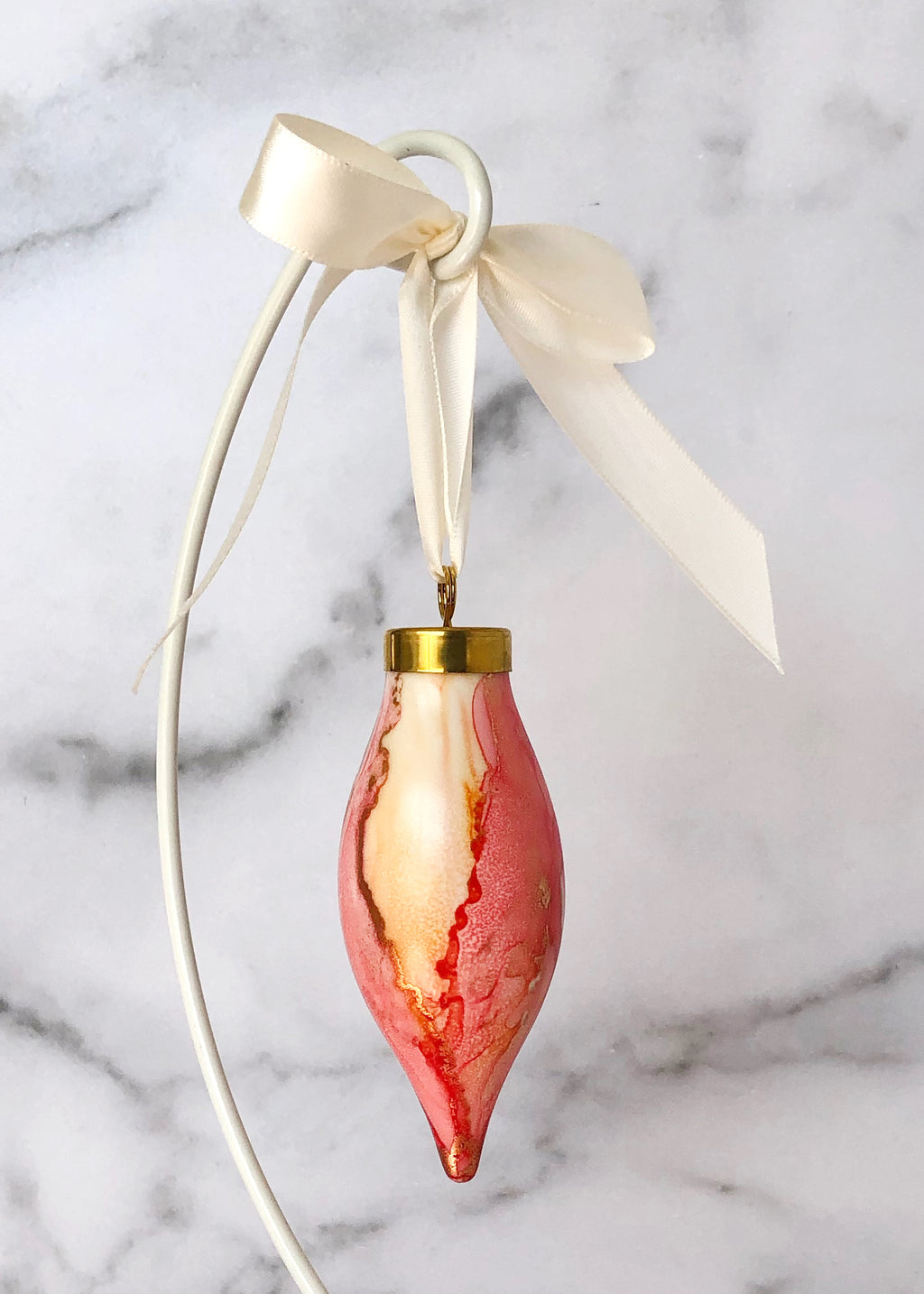 Pink and Orange Handpainted Ornament - Narrow Teardrop