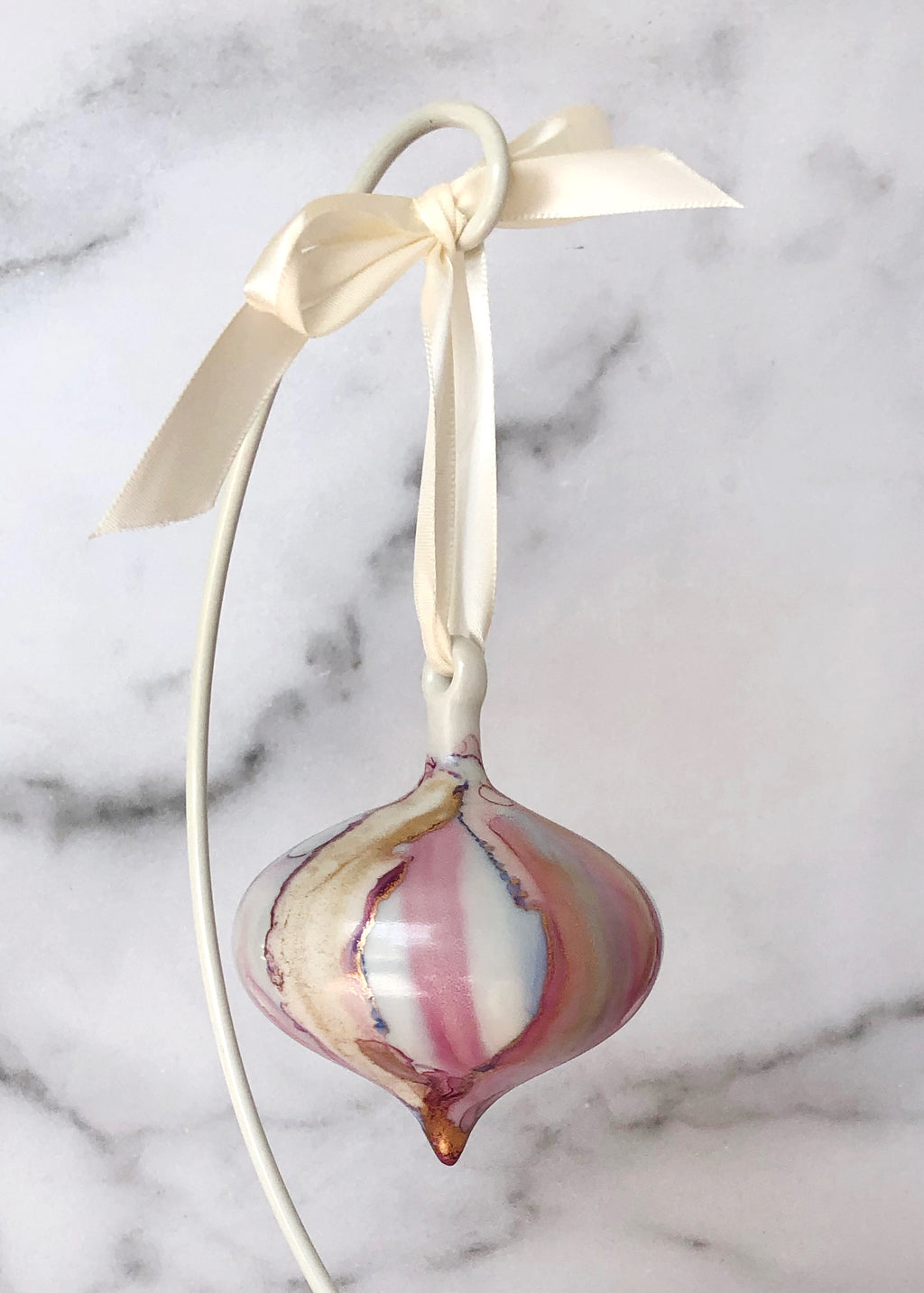 Handpainted Ornament - Wide Teardrop