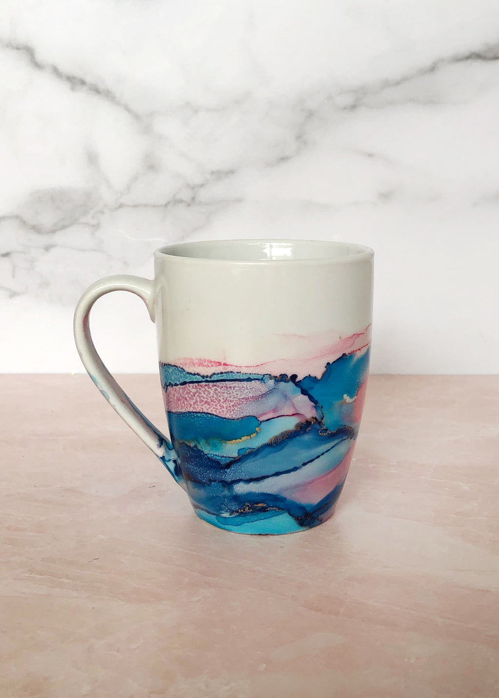 Pink and Blue Hand-Painted Mug