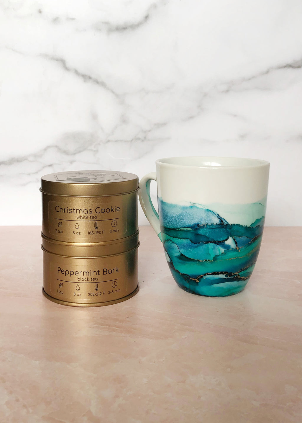 Teal and Blue Hand-Painted Mug