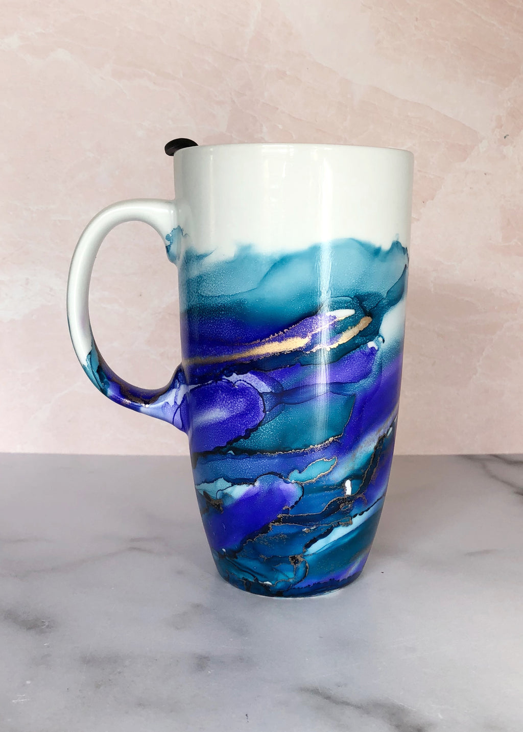 Purple and Blue Hand-Painted Travel Mug with Handle