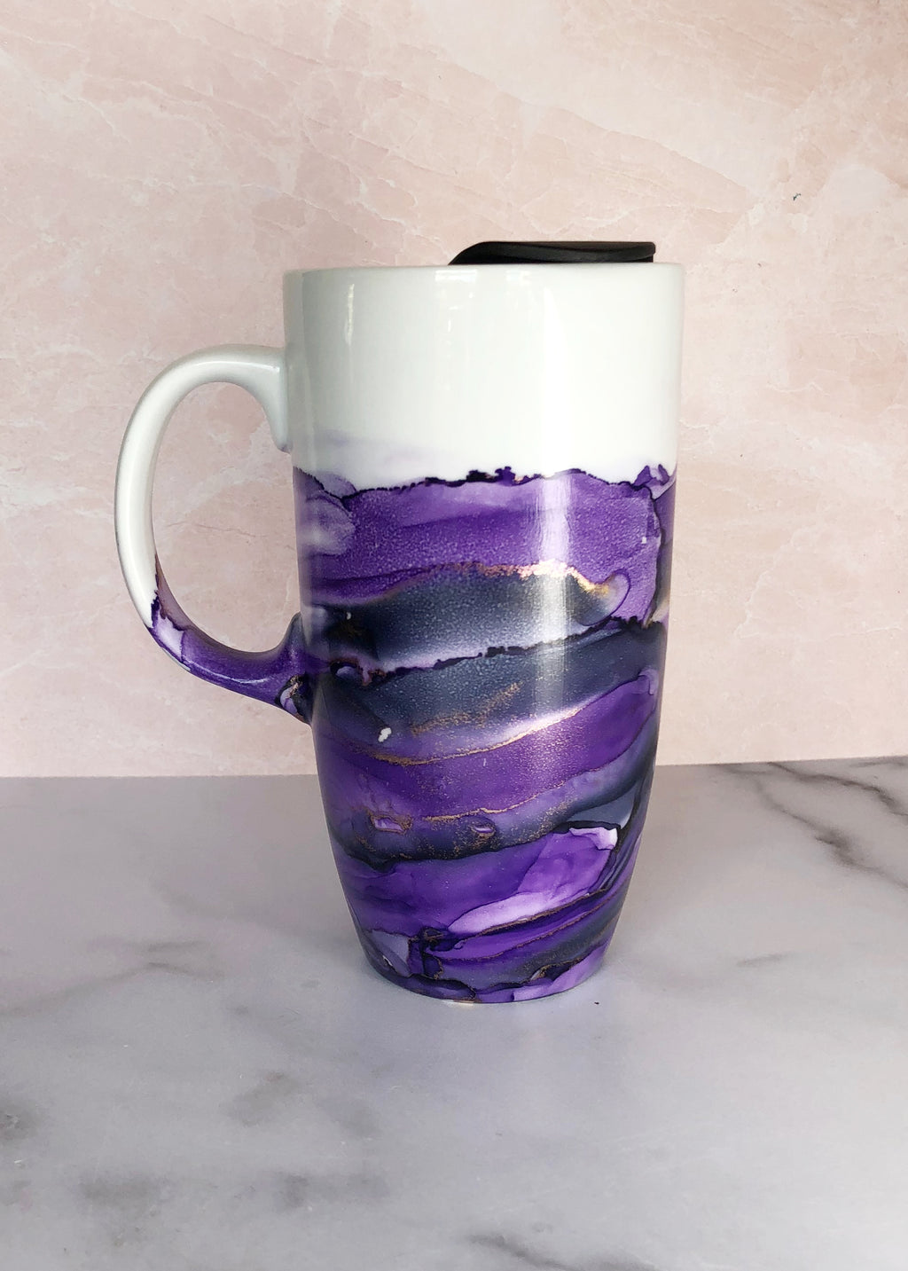 Purple Hand-Painted Travel Mug with Handle