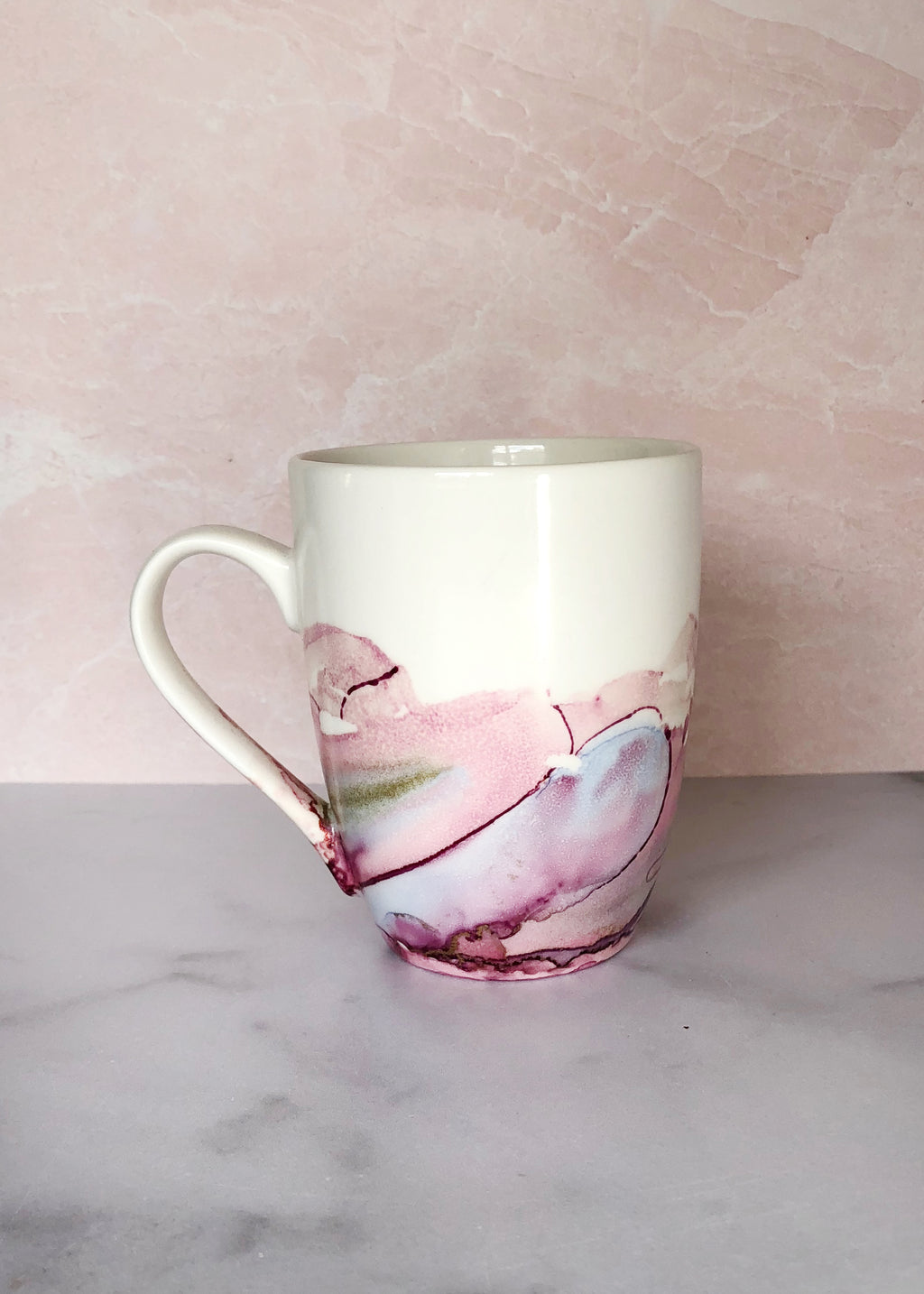 Pink and Periwinkle Hand-Painted Mug