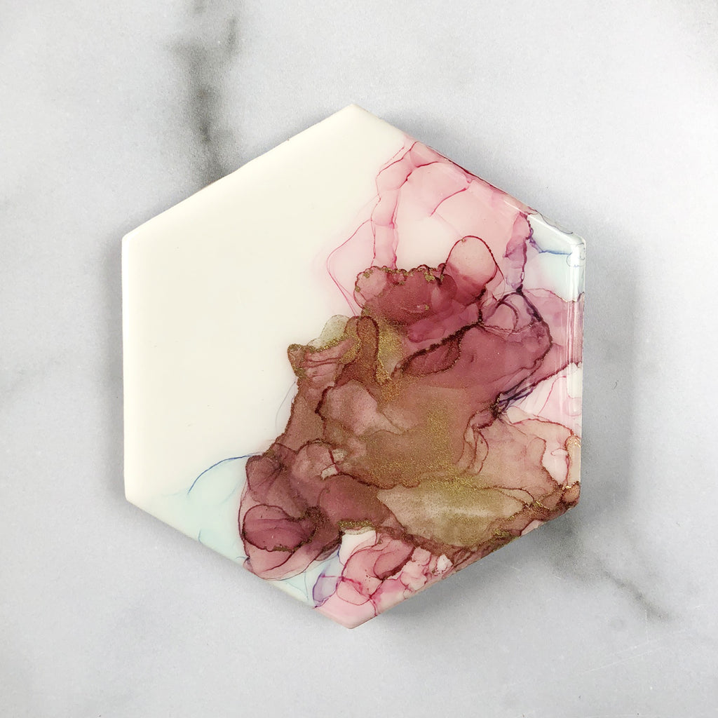 Blush and Periwinkle Handpainted Coasters