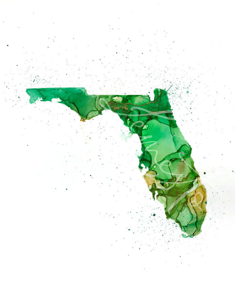 Florida Alcohol Ink Print