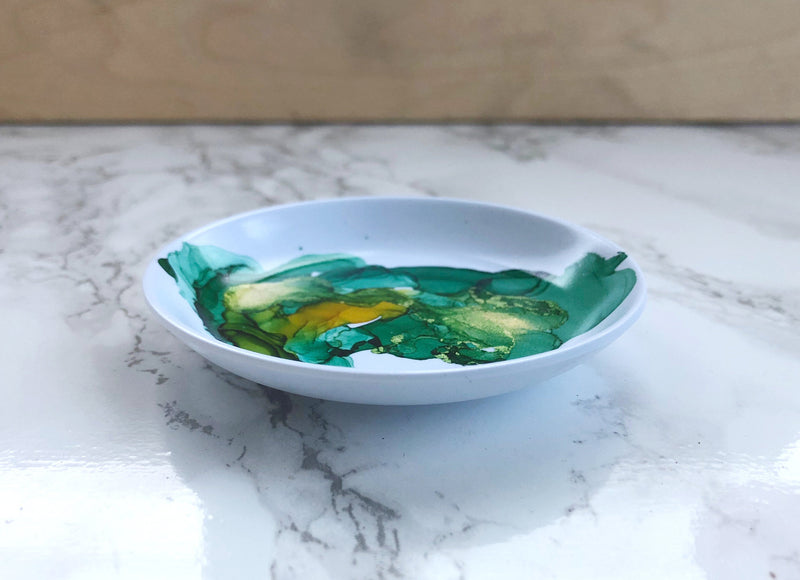 Green Watercolor Melamine Ring Dish