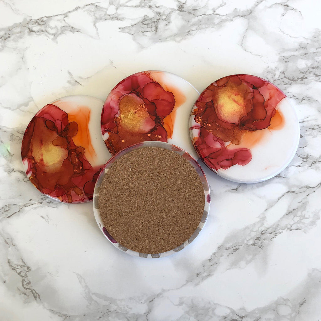 Red and Orange Watercolor Coasters