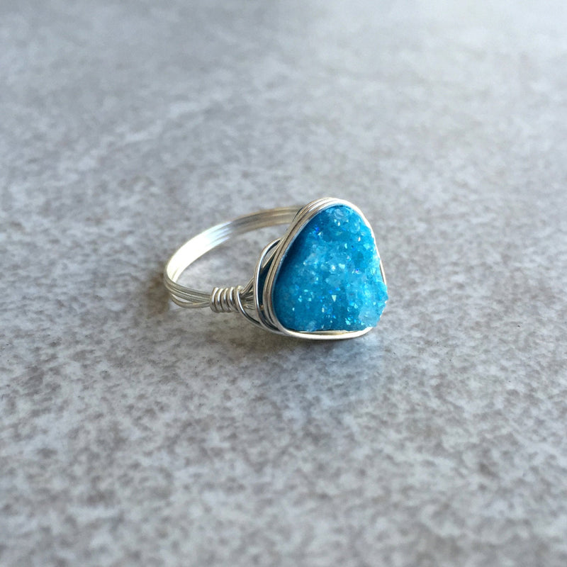 Blue Triangle Druzy Ring