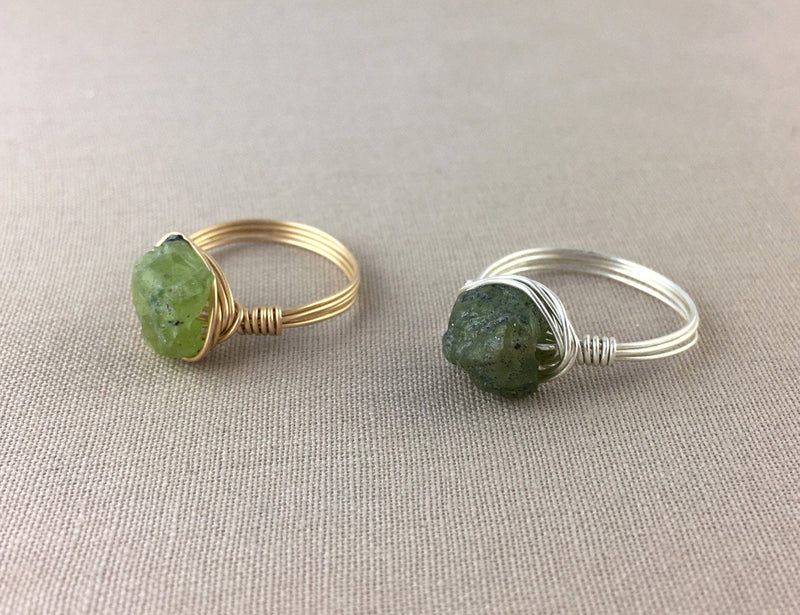 Raw Peridot Ring