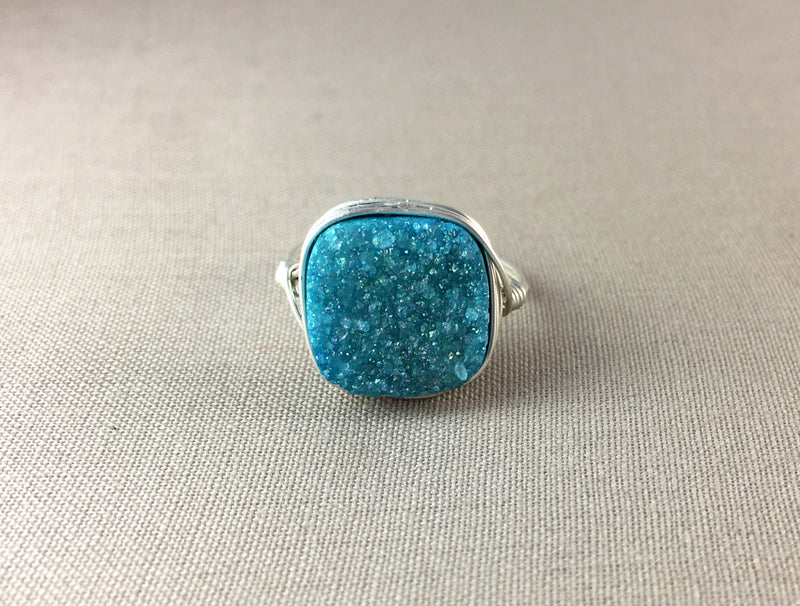 Blue Square Druzy Ring
