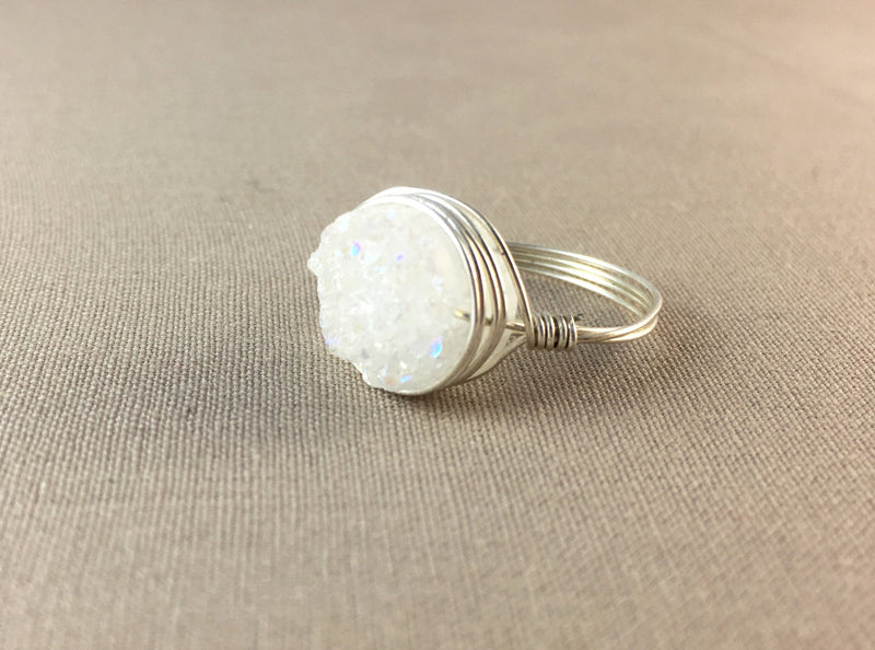 Small White Druzy Ring