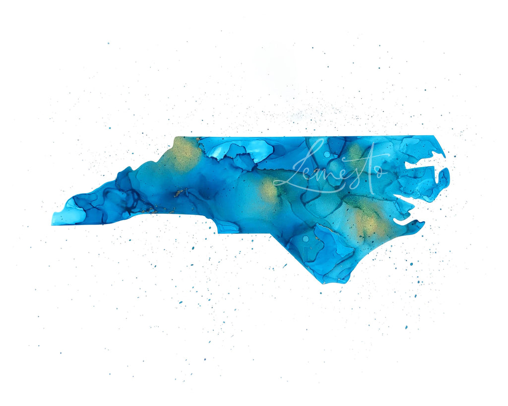 North Carolina Alcohol Ink Print